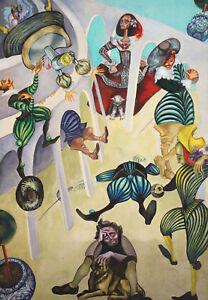 Vintage Gouache Painting Surrealist portrait figures