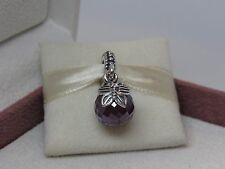 New w/BOX Pandora Morning Butterfly Amethyst Purple Dangle Charm 791258ACZ