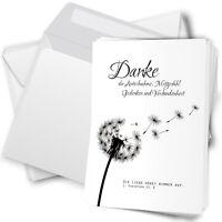 10 Trauer-Danksagungskarten Trauer-karten Umschlag edel Motiv Pusteblume