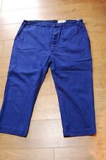 """Vintage Blue French Cotton Work Pants Trousers Button Fly Old 44""""W Le LABOUREUR"""