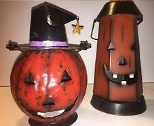 Halloween Rustic Metal Candle Holders (set Of 2)