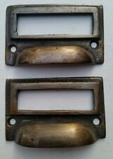 """2 tarnished brass File Apothecary drawer pull Handles 2-3/4""""w. Label holders #F1"""