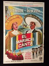 EL MARIACHI CANTA (1963) * LUIS AGUILAR * LUCHA VILLA * ARGENTINE 1sh POSTER