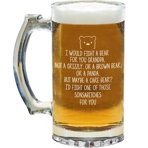 Grandpa Beer Mug Glass Stein Cup Funny Gifts For Birthday Best Present S-59D