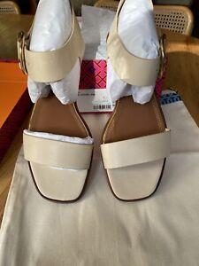 NIB $248 Tory Burch Women's Selby Flat  Sandals Sz 10~ Dulce De Leche ~calf Lthr