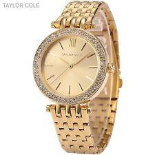 Taylor Cole Fashion Lady Women Gold Stainless Steel Luxury Quartz Watch Bracelet