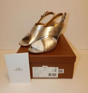 Coach Randy Peep Toe Silver Leather Wedge Heels Size 8.5M NIB