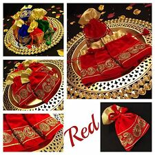 Red Gold Trim Drawstring Pouches Wedding Velvet Jewellery Pouch Gift Bag 16/11cm