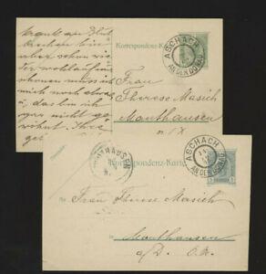 2 Stück 5 Heller Ganzsachen-Karten 1905+08 aus Aschach an der Donau