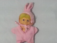 "VINTAGE 1960s Dam Scandia 2.5"" Troll Doll Yellow Hair White Eyes Cotton Outfit"