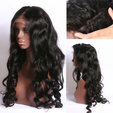 Brazilian Remy Hair Wavy Large Curly Glueless Lace Front Long Full Wig New Black