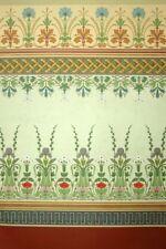 Décoration Tenture ancienne Fleurs Art Déco lithographie XIXème