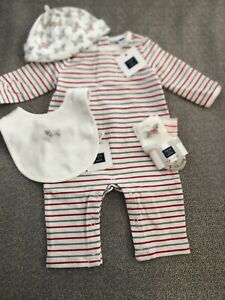NWT Janie and Jack boy red gray striped dog romper socks hat 5-piece SET 0 3 6