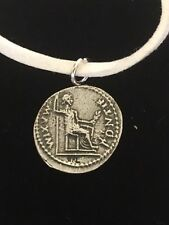 "Denarius Of Tiberius Coin WC60 Fine English Pewter On a 18"" White Cord Necklace"