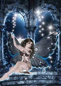Midnight Fairy Birthday Card gorgeous & feminine with tattoos dark blue