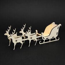 Freestanding Wooden Christmas Santa Sleigh Craft Kit - Four Reindeer Flat Packed