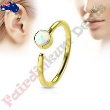 316L Surgical Steel Gold Ion Plated Nose Hoop Ring with White Set Opal