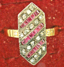 VINTAGE ESTATE ART DECO 14K DIAMOND & RUBY ELEGANT RING