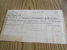 ANTIQUE - CONNELL & BATTIN - IRON, STEEL, STOVES  SCRANTON PA  - 1884 - BILLHEAD