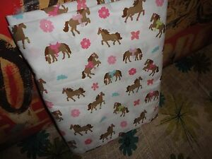 CIRCO PRETTY HORSES BROWN PINK PONIES (1) FULL FLAT SHEET 75 X 96