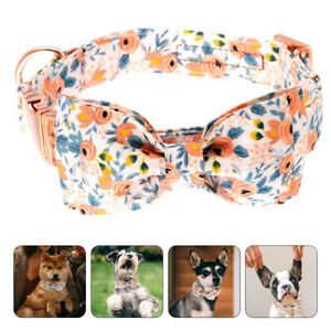 Adjustable Pet Dog Neckwear Puppy Necktie Safety Collar with Removable Bow