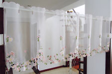 Pink Flower Great Embroidered Home Decorate Kitchen Lace Sheer Cafe Curtain 150 Width X 45 Drop Cm