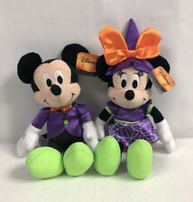 "Disney Halloween Purple Mickey And Minnie Mouse Plush Lot 10"" New"