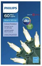 Philips 60 count LED Warm White Mini String Light Set Indoor Outdoor 19.6 Feet