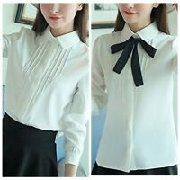 Women's Lolita Collar Button Blouse Bowknot Long sleeve Casual Shirt