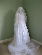 Vintage £1,000 PARIS *DIAMANT NOIR* Bridal Gown 13' Veil 5' Train Sz 8/10 Boxed