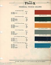 1946 FEDERAL TRUCK Color Chip Paint Sample Brochure / Chart: ACME