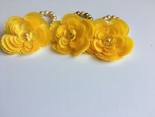 Set of 3 stretch pearl plastic beads with yellow flowers handmade braclets