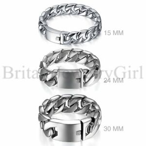 Mens Polished Silver Stainless Steel Heavy Large Biker ID Curb Chain Bracelet