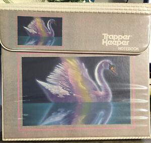 Vintage Mead Trapper Keeper Notebook Swan Water Portfolio 3 Ring Binder