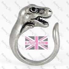QUIRKY DINOSAUR antique silver fashion WRAP RING tyrannosaurus T REX HEAD skull