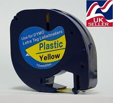 4 x tape cartridge 91202 yellow plastic 12mm x 4m for DYMO LETRATAG label makers