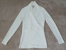 BANANA REPUBLIC off white long sleeve stretchy modal mock wrap top, Size S, NWT
