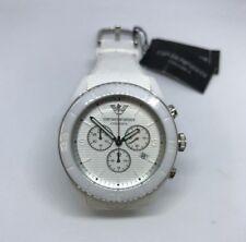 ARMANI Ceramic Chronograph Casual Wrist Watch White Dial White Silicone Strap