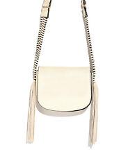 Nali Ice Fringe Saddle Shoulder Handbag Italian Faux Leather Tassels