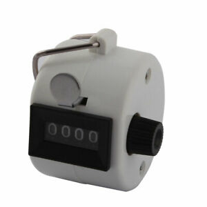 Hand Held 4 Digits Number   Sport Golf Tally Click Palm Counter White