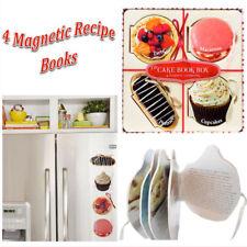 4 X Fridge Magnetic Recipe Books Kitchen Decor Gift Set Cake Tart Baking Booklet