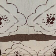 100% Cotton Beige Brown 3pcs. Queen Embroidery Quilt w/2 Pillow Shams Bedspread!