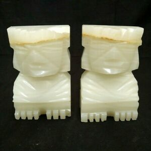 SET OF 2 CARVED AZTEC MAYAN TIKI ONYX MARBLE STONE BOOKENDS STATUE SCULPTURES
