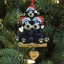 Black Bear Family of 3 Personalized Christmas Tree Ornament