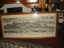 Vintage German Engraving Etching Map-Augusta Vindelicorum Augspurg-Very Large