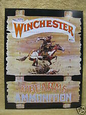Winchester Rider Firearms Ammunition Tin Metal Sign NEW