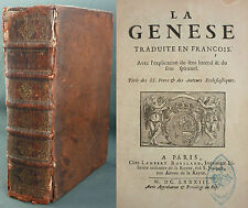 LEMAISTRE DE SACY - LA GENESE EN FRANÇOIS TIRÉ DES SS PERES 1683 ROULLAND Bible