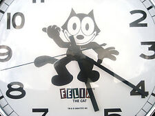 FELIX THE CAT Clock Large 300mm Retro Stainless Steel & Curved Glass -NEW!