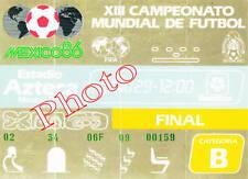 Photo Ticket Billet Finale Coupe du monde 1986 Argentine Allemagne Maradona