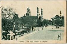 1929 Vercelli - Piazza Roma e Basilica di SantAndrea bicicletta - FP B/N VG ANIM
